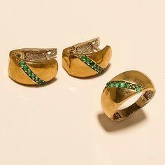 Natural Zambian Emerald Ring Earrings 925 Sterling Turkish Two Tone Jewelry Gift Emerald Earrings, Emerald Jewelry, Antique Earrings, Ring Earrings, Ceylon Sapphire Ring, Emerald Diamond, Halo Diamond, Jewelry Sets, Fine Jewelry