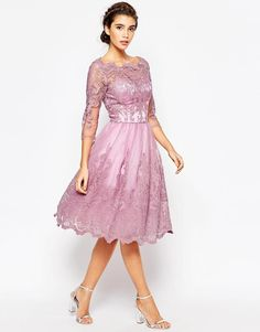 Chi Chi London   Chi Chi London Premium Lace Midi Prom Dress with Bardot Neck and 3/4 Sleeve at ASOS