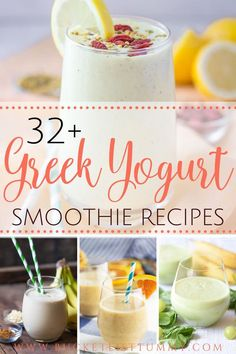 If you're searching for some delicious Greek yougurt smoothie recipes, you will absolutely adore these wonderful options! These smoothie recipes with Greek yogurt are great as an after workout smoothi Smoothies Kiwi, Smoothie Proteine, Fruit Smoothie Recipes, Protein Shake Recipes, Workout Smoothie, Healthy Smoothies, Simple Smoothies, Vanilla Smoothie, Healthy Yogurt