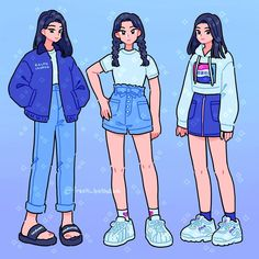 I drew myself in three blue outfits from my closet 💙 comment your fave! Aesthetic Drawing, Aesthetic Art, Aesthetic Clothes, Cartoon Art Styles, Cute Art Styles, Character Outfits, Character Art, Arte Copic, Clothing Sketches