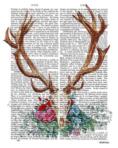 Deer Skull with Flowers skull Illustration by DottyDictionary, $15.00