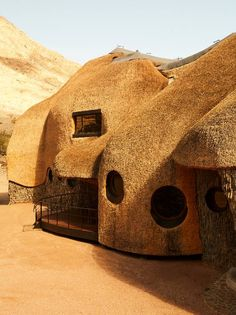 "Desert Dwelling with Thatched Roof ———————————————————— ""The Nest, Namib Desert, Namibia, by Porky Hefer has won the Wallpaper* Design… Architecture Résidentielle, Cultural Architecture, Vernacular Architecture, Organic Architecture, Contemporary Architecture, Architecture Organique, Namib Desert, Thatched Roof, African Design"
