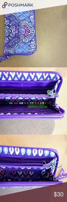 """Vera Bradley Lilac Tapestry Accordian Wallet This wallet features a clear ID slip pocket, twelve credit card slip pockets, a zippered coin pocket, and two long slip pockets for cash   with zip around closure.  It measures 8"""" L x 4.5 """" H x 1"""" D.  Lilac Tapestry was retired in the fall of 2016.  Smoke-free home. Vera Bradley Bags Wallets"""