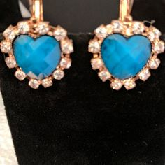 Shade of blue stone zirconia lobster clasp earrings