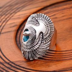 Men's Sterling Silver Turquoise Eagle Ring - Jewelry1000.com