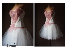 Linada, ivory/pink Prom dress,coctail dress, Tulle bridesmaid dress, Knee-length formal ,Sweetheart party,evening dress, new years eve by AtelierArtistia on Etsy