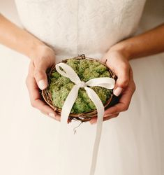 12 Most Beautiful Moss Wedding Ideas |  #centerpiece #decor #DIY #flowergirlbasket #gallery360 #moss #mossringnest #mossy #terrarium #wedding | moss wedding ideas - ring bearer nest pillow