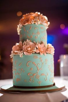Light blue mint green with gold pink flowers
