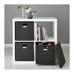 IKEA - TJENA, Box with lid, black, , Perfect for newspapers, photos or other memorabilia.Easy to pull out and lift as the box is sturdy and has cut-out handles.The included label holder helps you to create an overview to quickly find your things.