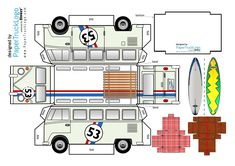 T1 Bus, Volkswagen Bus, Vw T1, Paper Car, Paper Toys, Paper Crafts, Paper Models, Trucks, Prints