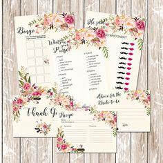 Floral Bridal Shower Invitation Printable by MondayDreamsShop