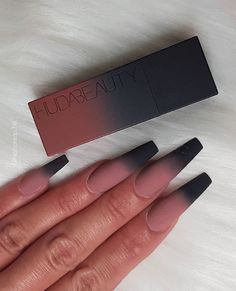 Installation of acrylic or gel nails - My Nails Black Acrylic Nails, Coffin Nails Matte, Best Acrylic Nails, Summer Acrylic Nails, Gel Nails, Black Ombre Nails, Long Black Nails, Black Acrylics, Nagellack Design