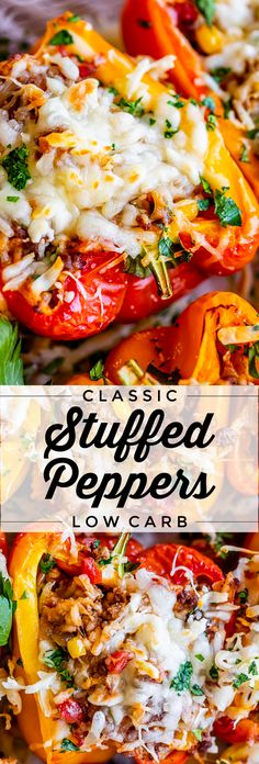 Classic Stuffed Bell Peppers from The Food Charlatan. Classic Stuffed Bell Peppers done right! Say no to bland and watery stuffed peppers. This baked stuffed peppers recipe is easy to put together (hint: we're using the microwave), healthy, and really flavorful thanks to a blend of fun spices and a couple secret ingredients. If you are looking for a low carb easy dinner, look no further! #easy #recipe #healthy #lowcarb #groundbeef #rice #tomato #corn #cheese #italian