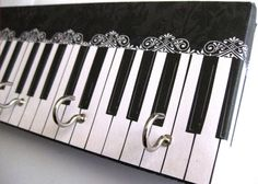 """Jewelry Holder and Key Rack  - """"Piano"""" - Black and White Piano, Lacy Detail (5 nickel hooks) by ElegantQuirk on Etsy"""