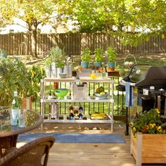 9 Ways to Get the Backyard of Your Dreams on a Budget: An outdoor bar paired with a grill, like this setup from BHG. You'll have all the advantages of cooking outdoors — with a lot less cost.