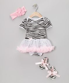 Take a look at this Light Pink Zebra Skirted Bodysuit Set - Infant on zulily today!