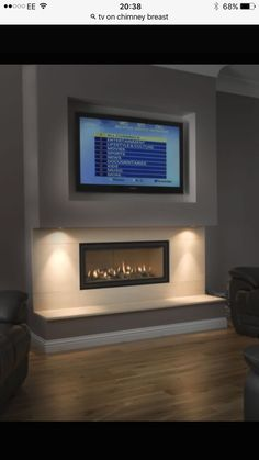 Gazco Studio 2 Gas fire with logs and A. install in false chimney breast - Thornwood Fireplaces Small Fireplace, Home Fireplace, Fireplace Remodel, Living Room With Fireplace, Fireplace Design, Farmhouse Fireplace, Fireplace Ideas, Fireplace Modern, Linear Fireplace