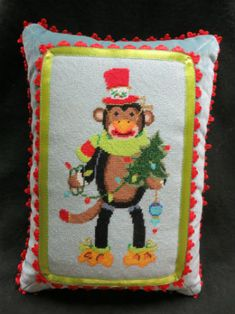 Adorable monkey pillow we finished for a special grandchild.