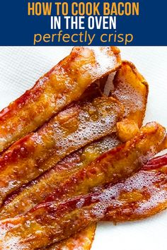 Showing you exactly how to cook bacon in the oven with step by step photos. This is the EASIEST way to cook perfectly crisp and perfectly straight bacon! #sweetpeasandsaffron #bacon #howto #oven Bacon In The Oven, Bacon Recipes, Crisp, Cooking, Breakfast, Easy, Photos, Food, Eten