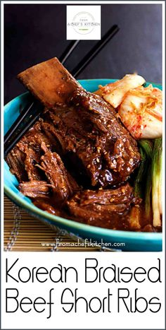 Korean Braised Beef Short Ribs are slightly sweet, slightly spicy and totally amazing. Slow-braising makes them fall-off-the-bone tender! Beef Short Ribs Oven, Korean Braised Short Ribs, Bbq Short Ribs, Short Ribs Slow Cooker, Slow Cooked Beef, Pork Ribs, Korean Ribs, Rib Of Beef, Gastronomia