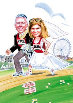 Couple running a marathon, London sites and a sign post. That sums up this wedding