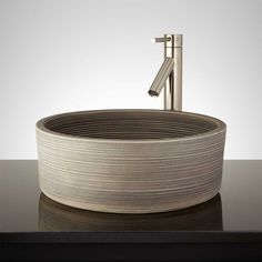 Tasmin Hand-Glazed Vessel Sink - Light Gray - Bathroom