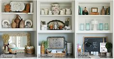 One Shelf Three Ways To Decorate - Kitchen Shelves Decorating Ideas Styling Bookshelves, Bookshelves In Bedroom, Bookcase Shelves, Shelving, Bookshelf Decorating, Decorating Ideas, Rustic Bookshelf, Decor Ideas, Bookcases