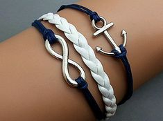 Infinity Anchor Bracelet Charm Bracelet Silver Bracelet Navy Korean Wax Cords White Leather Charm Bracelet Personalized Bracelet Wholesale on Etsy, $3.99  @Lydia Parker this is the one I'm ordering for Hallie