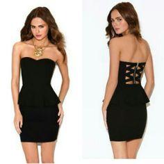 Short strapless black peplum dress from forever 21