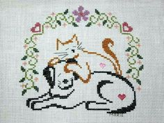 Marie Duncan uploaded this image to 'Finishes/Finishes See the album on Photobucket. Cat Cross Stitches, Cross Stitch Charts, Cross Stitching, Cross Stitch Embroidery, Cross Stitch Patterns, Crochet Patterns, Stuffed Animal Patterns, Plastic Canvas Patterns, Needlework