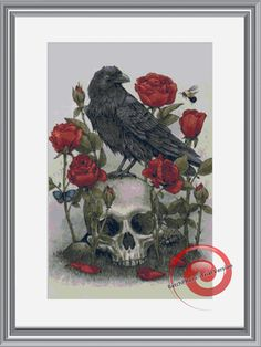 Black Raven & Roses Skull Counted Cross Stitch Pattern, Instant Download PDF, Relaxing Hobby