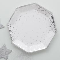 Metallic Star Hopea Lautaset 8 kpl