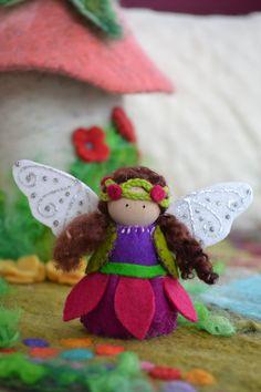 Fuchsia Flower Fairy Peg Toy Wood and Felt Fairy by LasManitos