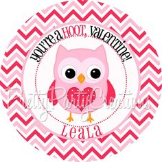 PINK OWL VALENTINE favour tags/stickers  by PrettyPartyCreations, $6.25