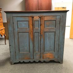 Country Blue-painted Pine Two-door Paneled Cupboard