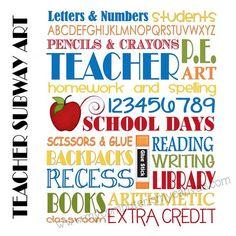 INSTANT DOWNLOAD Teacher School Days Subway Art -  Printable. $5.00, via Etsy.