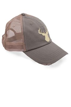 FRONT VIEW - Country Girl ® Ivory Deer Head Trucker Hat