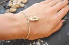 C-057 Silver Beaded bracelet, Seed bead bracelet, Leaf bracelet, Pendant Bracelet, Simple bracelet, Charm bracelet/Everyday jewelry/