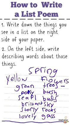 how to write a list poem - a great activity for begining writers