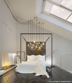 Contemporary Master Bedroom with Skylight, herringbone tile floors, High…