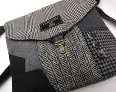 Recycled Crossbody Purse iPhone Purse pocket Wool by SewMuchStyle