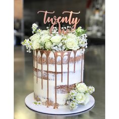 Rose gold drip cake, semi naked - How To Make Crazy PARTY Birthday Cake Roses, 60th Birthday Cakes, 21st Birthday Cakes, 21 Birthday, Pretty Cakes, Beautiful Cakes, Fresh Flower Cake, Fresh Flowers, 18th Cake