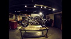 """Ducati """"Pyro"""" Final Assembly. The day before our trip to LA to see our West Coast friends and to appear on Jay Leno's Garage, we decided to stage Pyro's final assembly in the middle of the shop so we could bring it along. About ten hours has been condensed down into this little 2 minutes of video action. The good news is that after being completely reworked from front to back, it started on the first try and shook the house. L O U D, L O U D, L O U D !! We rode it exactly one mile and then…"""