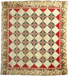 "Old Maid's Ramble pieced quilt (97"" x 87"") in red and green on cream with chintz border. Quilt top is cotton. Fabric print is floral, chintz border printed panels."