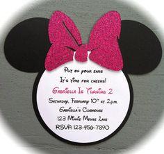 Invitaciones hechas a mano  brillo rosado caliente arco