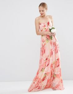Floral Printed Rouched Bandeau Mesh Maxi Dress