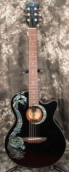 2014 Luna Fauna Series Dragon Black Acoustic Electric Guitar