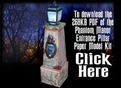 Entrance Pillars for Haunted Mansion Paper Model Kit by Ray Klein. Haunted Mansion Halloween, Halloween Village, Disney Halloween, Holidays Halloween, Halloween Crafts, Haunted Mansion Decor, Disney Diy, Disney Crafts, Disney Stuff