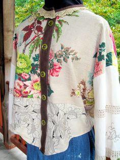 Jacket from vintage barkcloth, vintage tablecloth, vintage trims (AmyCavanessDesigns.com)