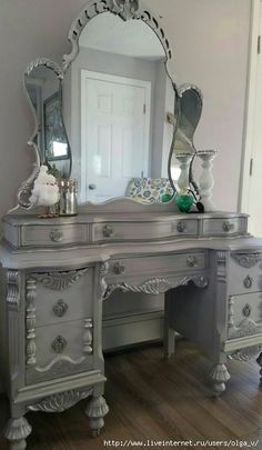 vintage vanity desk with mirror. This amazing Vintage Vanity  White gray chalk paint slightly distressed metallic silver gilding wax General Finishes brown glaze Beautiful Antique with Mirror and Bench Simply Pink